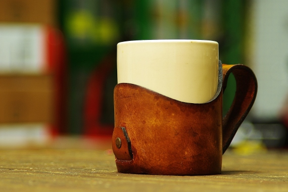 ceramic coffee mug with leather handle