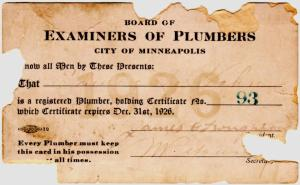 1923 Plumbing registration card from the city of Minneapolis