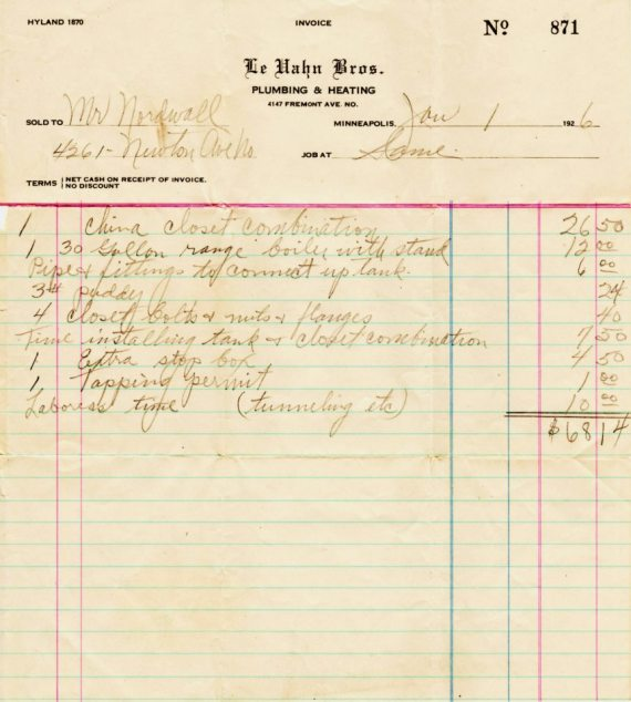 A Plumbing bill from 1923 or $68.23